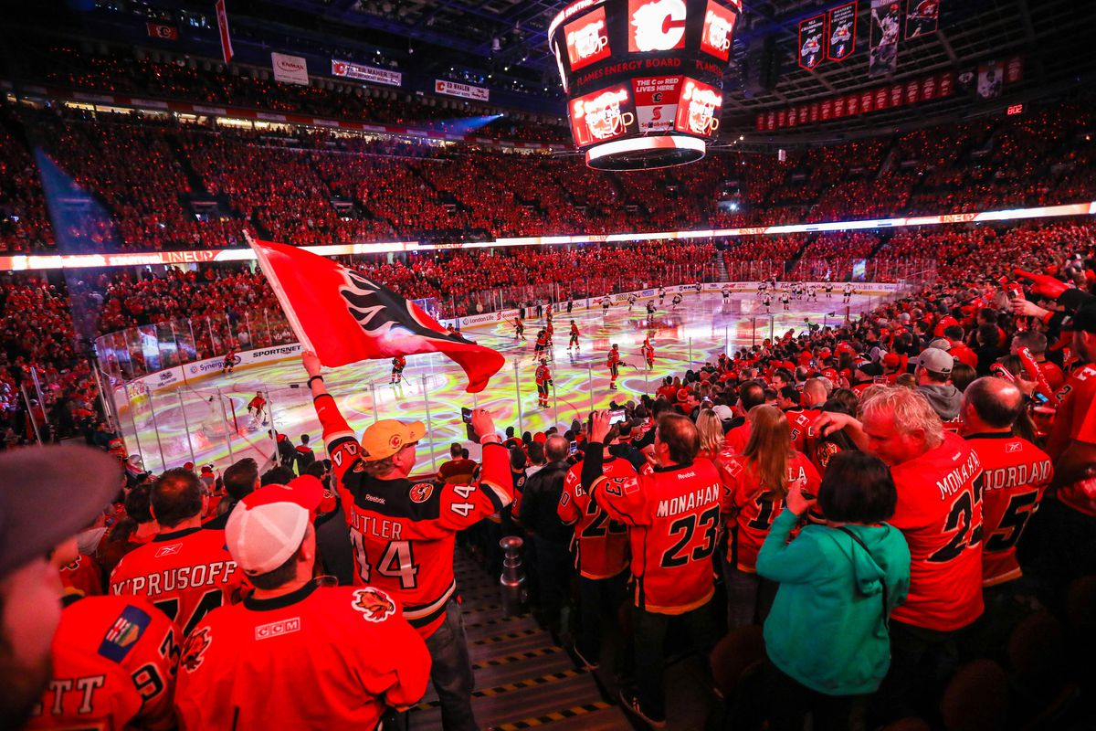 The C of Red inside the Scotiabank Saddledome