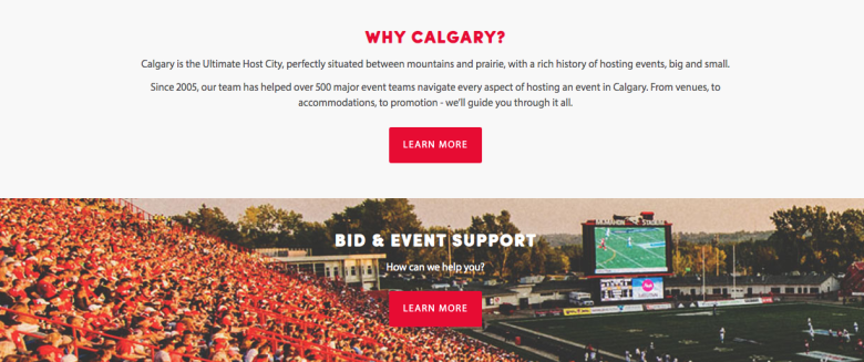 Sports & Culture is a major pillar to promote Calgary.